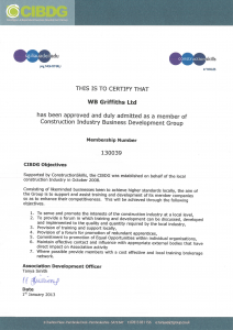 Construction Industry Business Development Group Certificate
